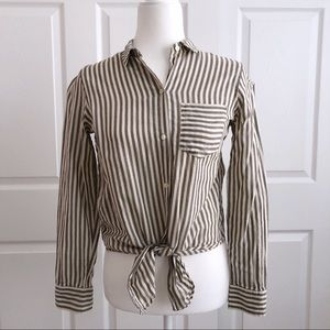 Madewell Tie-Front Striped Button Down Shirt Sz XS